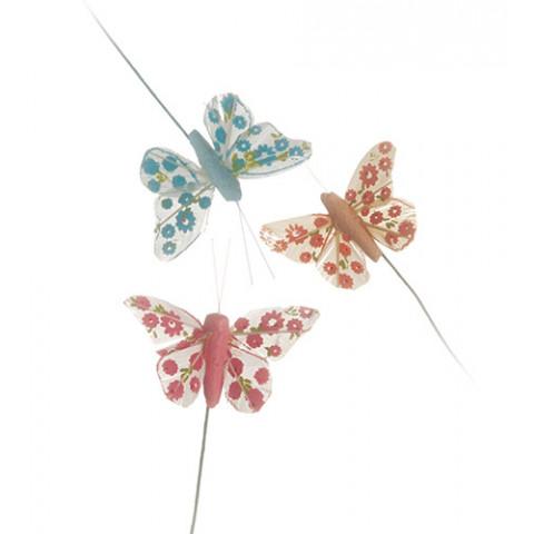 Pick Borboletas - Pena Decorada (Azul / Pink / Salmão)