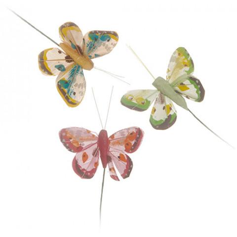 Pick Borboletas - Pena Decorada - Rosa / Verde / Salmão