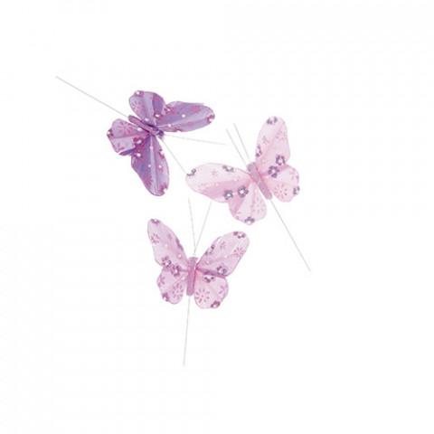 Pick Borboletas Pena e Glitter - Flor Lilás / Pink / Rosa