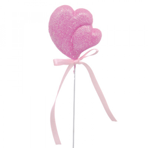 Pick Coração Crescente com Glitter - Duo Rosa