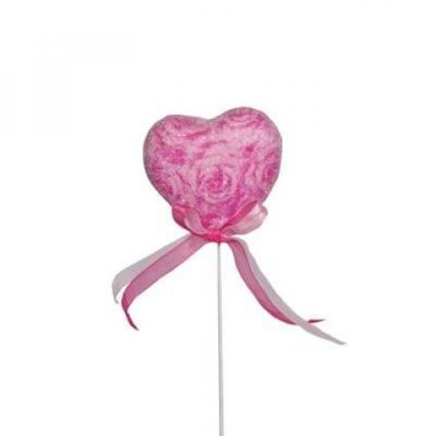 Pick Coração Decorado Misto - Rosa / Pink / Vermelho (6 unidades)
