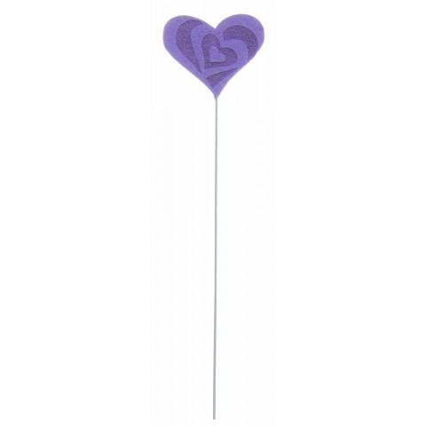 Pick Coração Felt - Lilás (12 unidades)