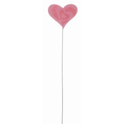 Pick Coração Felt - Rosa (12 unidades)