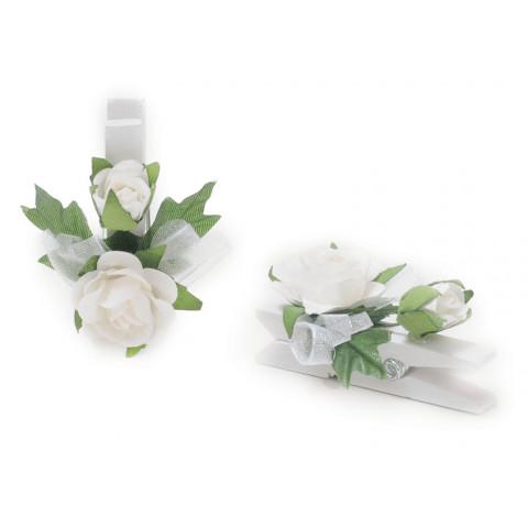 Pregador Floral - Botão Branco