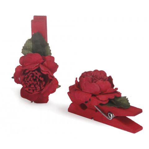 Pregador Floral Rosa - Cor Vermelha