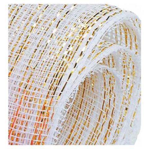 Tela Decorativa - Creme com fio Dourado