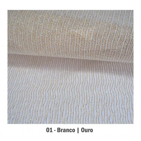 Tela Fechada de Algodão -  Branca | Ouro (65x65cm)