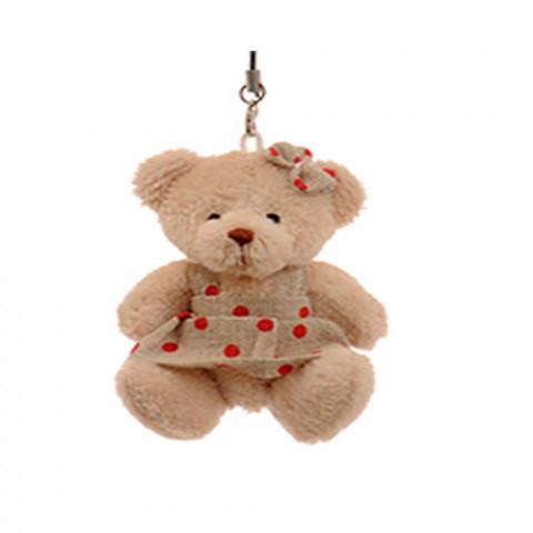 Ursinha de Vestido cru com Poá (7 cm)