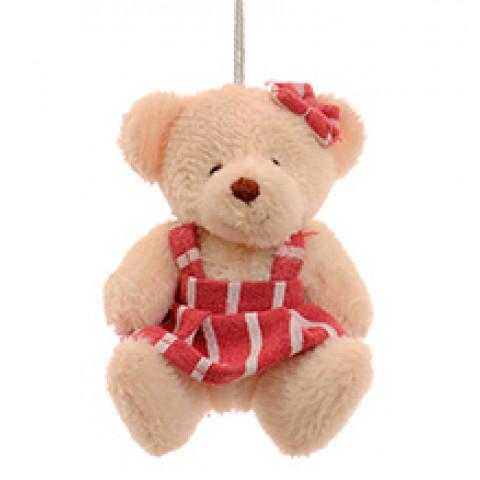 Ursinha de Vestido de Listras Rosa (8 cm)