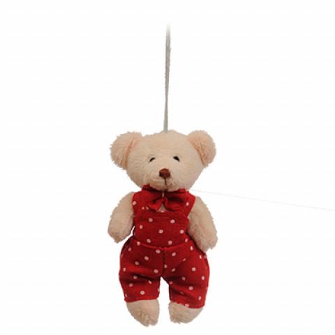 Ursinho com Jardineira Vermelha de Poá (11 cm)