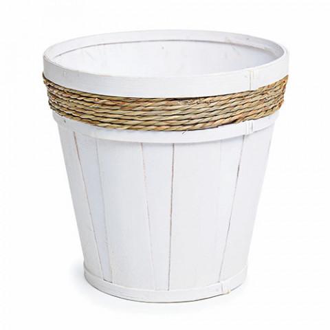 Vaso Branco com Palha Trançada G