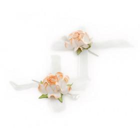 Alfinete Bicolor Rosas -  Branco com Laranja