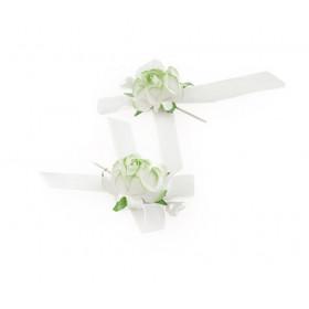Alfinete Bicolor Rosas - Branco com Verde