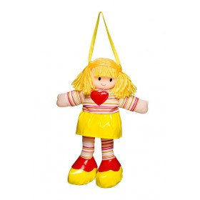 Boneca Liza Vestido Listrado Amarelo Com Coração Vermelho