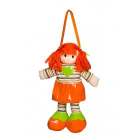 Boneca Liza Vestido Listrado Laranja Com Coração Verde