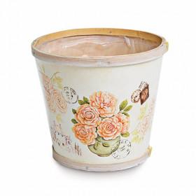 Cachepot Decorado Bege Rosas no Vaso