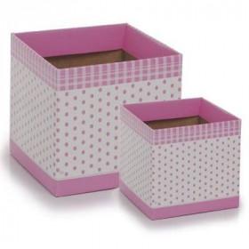 Cachepot G - Quadrado Poá rosa