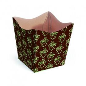 Cachepot P - Marrom com Arabesco Verde