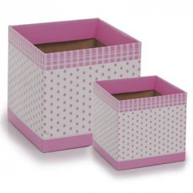 Cachepot P - Quadrado Poá rosa