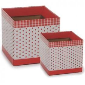 Cachepot P - Quadrado Poá Vermelho