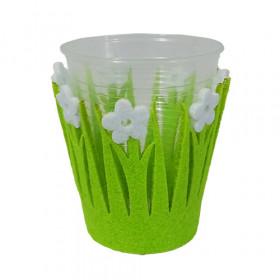 Kit Suporte para copos - Feltro Verde com Flor Branco