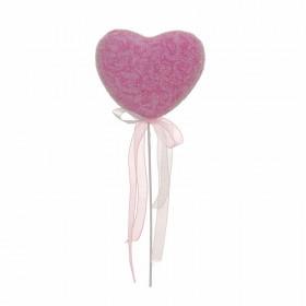 Pick Coração Decorado Arabescos - Rosa (6 unidades)