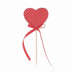Pick Coração Tecido Vermelho com Poá Branco