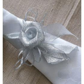 Porta-Guardanapo - Flor de Fita Prata