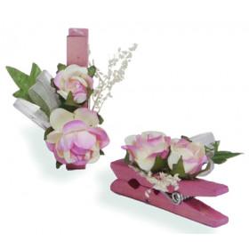 Pregador Floral Rosa - Cor Bege / Rosa