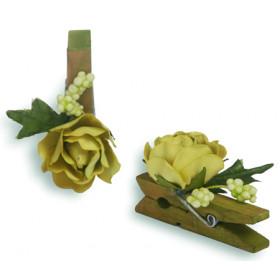 Pregador Floral Rosa - Cor Verde