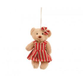 Ursinha com Vestido de Listras Vermelho (11 cm)