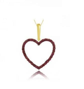 Pingente Coração em Ouro 18k com Rubis