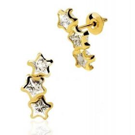 Brinco 3 Estrelas em Ouro 18k com Zircônia