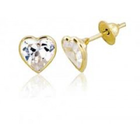 Brinco Coração com Zircônia Especial em Ouro 18k
