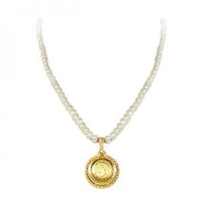 Colar de Pérolas com Medalhão em Ouro 18k