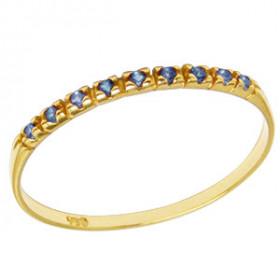 Meia Aliança em Ouro 18k com Pedras Preciosas