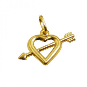 Pingente Coração com Flecha em Ouro 18k