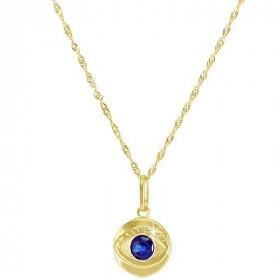 Pingente de Olho Grego em Ouro 18k e Safira