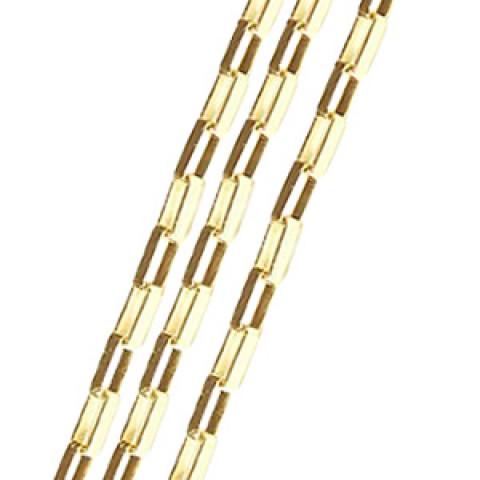 Corrente em Ouro 18k Elos Retangulares