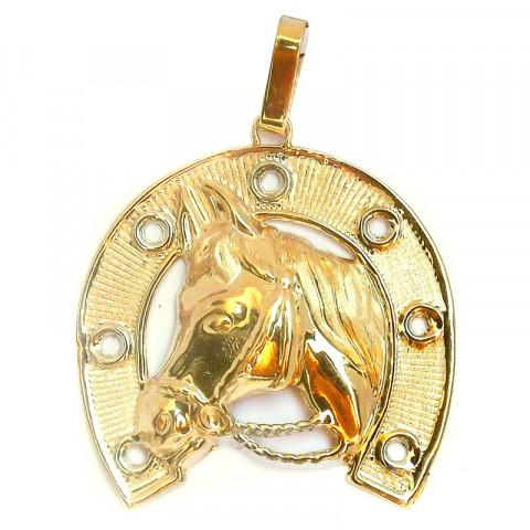 Pingente Cavalo com Ferradura em Ouro Maciço 18k