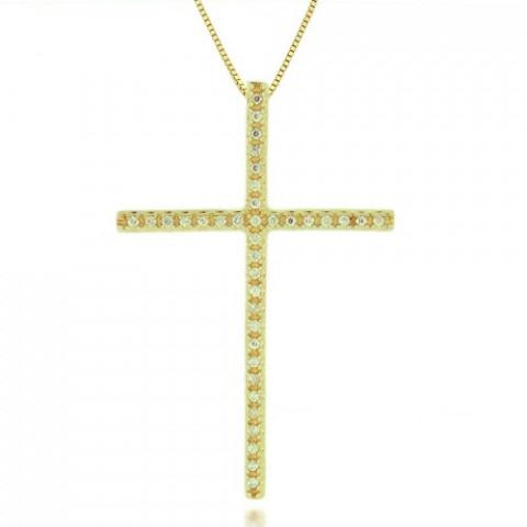 Pingente Crucifixo com Diamonix em Ouro 18k