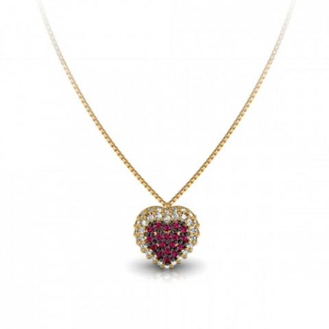 Pingente em Ouro 18k Coração Rubis e Brilhantes