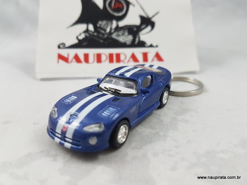 Chaveiro Dodge Viper GTS R Azul com faixa 1:64 Kinsmart