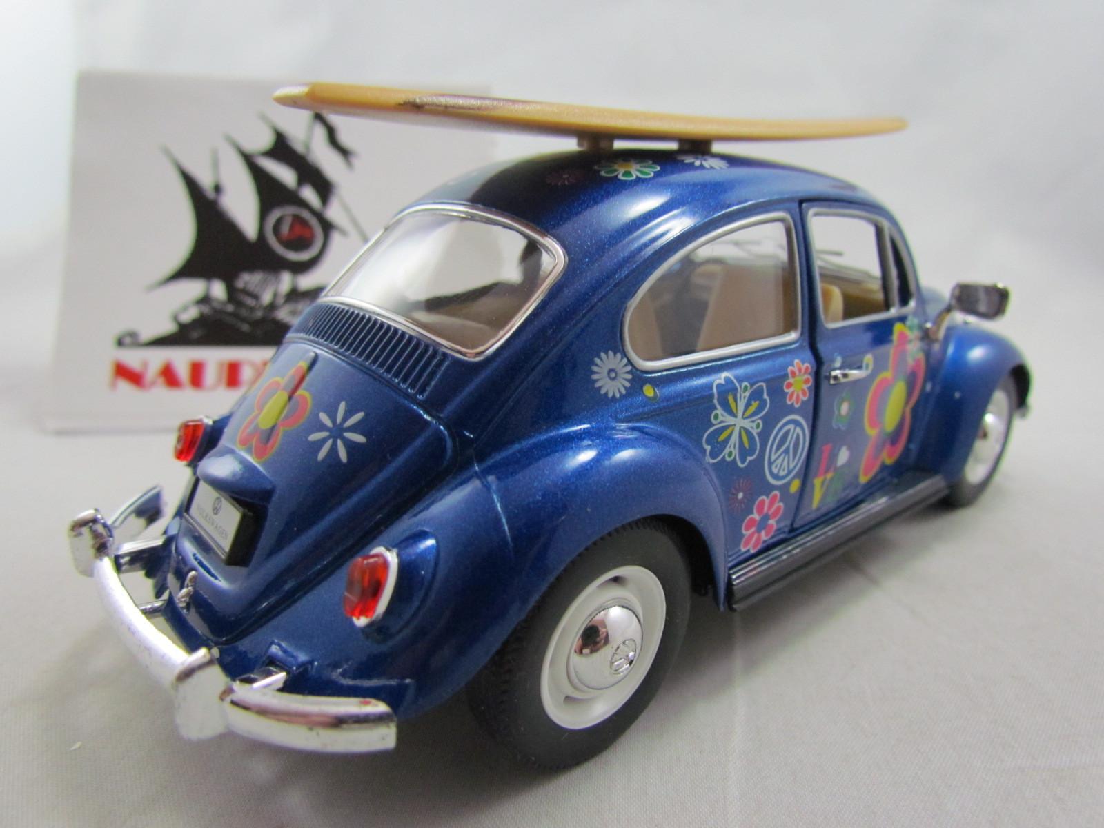 Fusca Hippie com Prancha 1967 Azul Kinsmart 1:24