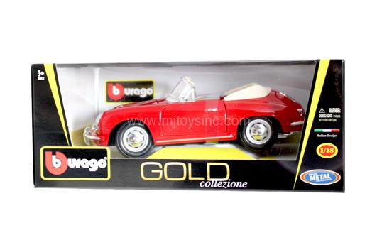Porsche 356B Cabriolet 1961 Vermelho Série Gold Burago 1:18