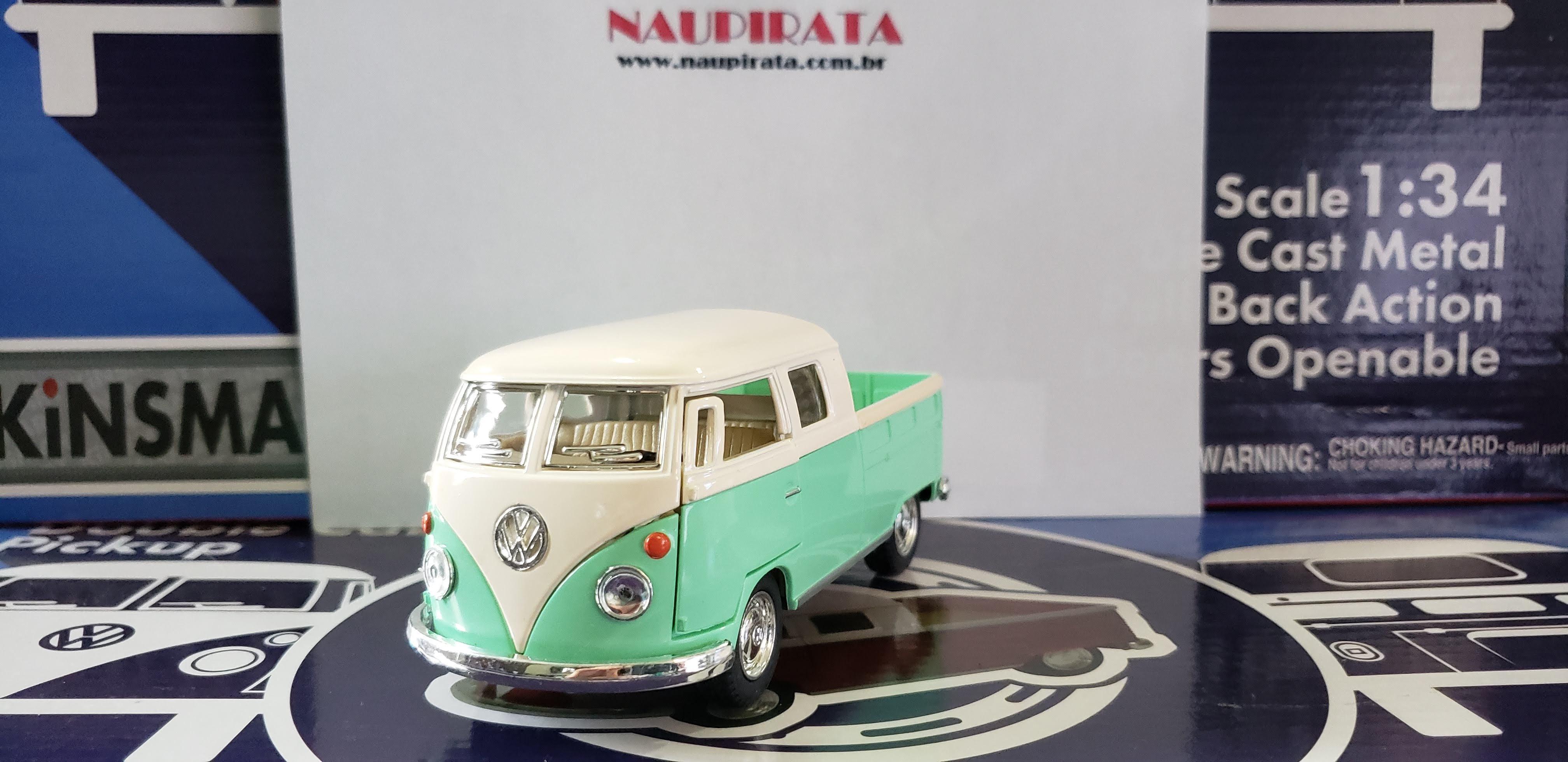 VW Kombi 1963 Pickup Cabine Dupla Candy Color Verde Kinsmart 1:34