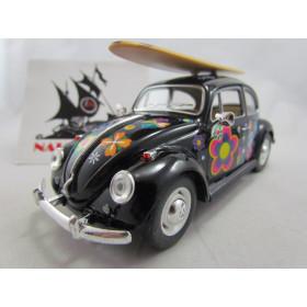 VW Old Beetle  Fusca Hippie com Prancha 1967 Preto Kinsmart 1:24
