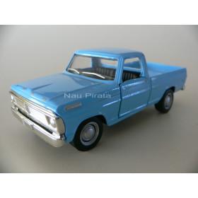 Miniatura Clássico Nacional Pickup Ford F-100 1968 Cor Azul