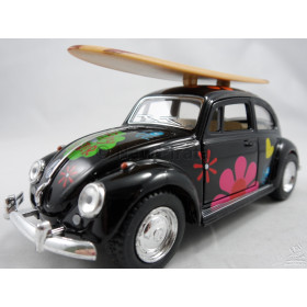 VW Fusca (Old Beetle) Hippie com Prancha Preto Kinsmart 1:32