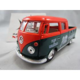 VW Kombi Bus 1963 Double Cap Pickup Delivery Laranja e Verde Kinsmart 1:32